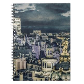 Carnet Vue aérienne de scène de nuit de paysage urbain de