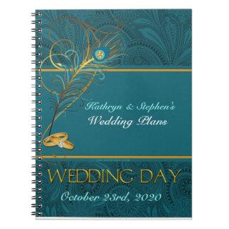 Carnet Wedding planner de paon pour des jeunes mariées