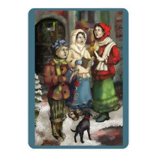 Carolers de Noël de Dickensian peignant la carte