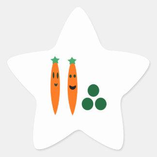 Carottes lunatiques et pois sticker étoile