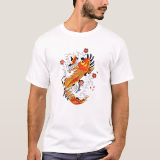 Carpe chanceuse de Koi d'or japonais oriental T-shirt