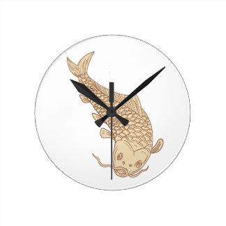 Carpe de Koi Nishikigoi plongeant en bas du dessin Horloge Ronde