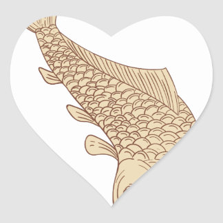 Carpe de Koi Nishikigoi plongeant en bas du dessin Sticker Cœur