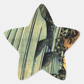 Carpe deux dans une cascade par Katsushika Hokusai Sticker Étoile
