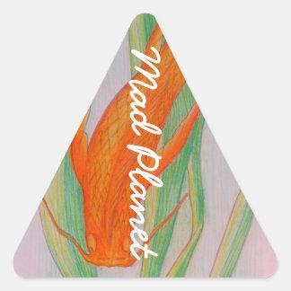 Carpe tirée par la main de Koi Sticker Triangulaire