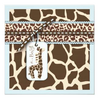 Carré 2 de garçon de safari carton d'invitation  13,33 cm