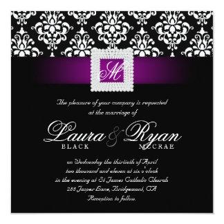 Carré blanc noir pourpre de mariage de bijou carton d'invitation  13,33 cm