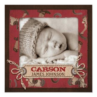 Carré de faire-part de bébé de cowboy carton d'invitation  13,33 cm