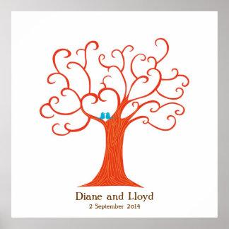 Carré de mariage d'arbre d'empreinte digitale poster