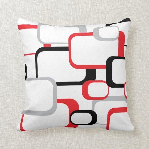 carr de rouge noir et gris r tro coussin d coratif zazzle. Black Bedroom Furniture Sets. Home Design Ideas