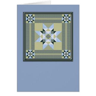 Carré d'édredon d'étoile dans le bleu et les verts carte de correspondance
