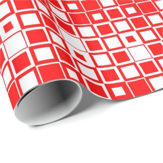Carré d'intérieur carré rouge/blanc papier cadeau noël