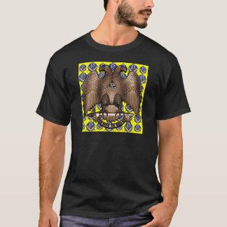 Carré et boussole écossais jaunes de rite t-shirt