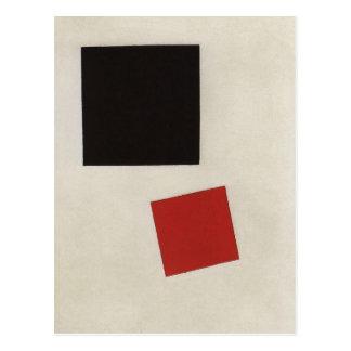 Carré noir et carré rouge par Kazimir Malevich Carte Postale