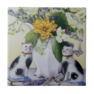 Carreau 4930 chats floraux et de Precelain