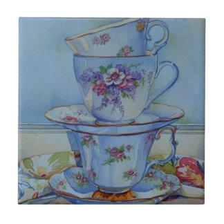 Carreau 6487 tasses de thé florales
