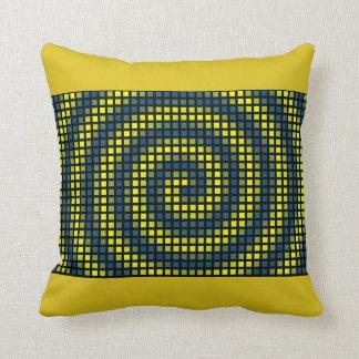 Carreau abstrait jaune de bleu de carré de motif coussin