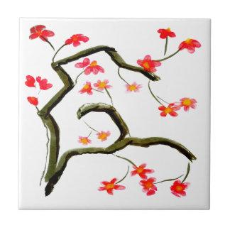 Carreau Accent rouge de fleurs de cerisier