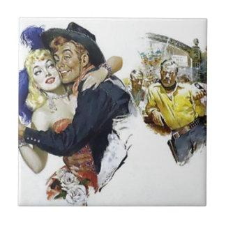 Carreau Affiche vintage d'amusement de danse de barre de