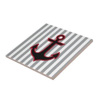 Carreau Ancre et rayures nautiques - gris noir rouge