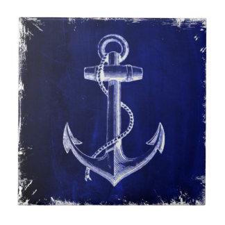 Carreau ancre nautique chic côtière de bleu marine de
