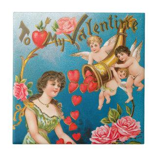 Carreau Anges victoriens vintages de Saint-Valentin avec