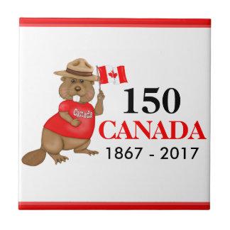Carreau Anniversaire fièrement canadien du castor 150