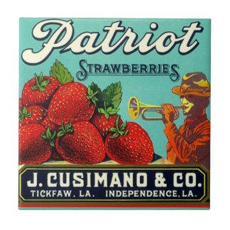 Carreau Annonce vintage d'étiquette de fraise de la