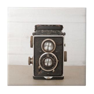 Carreau Appareil-photo jumel vintage de lentille de