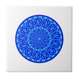 Carreau Aqua chic et mandala bleu de lueur de kaléidoscope
