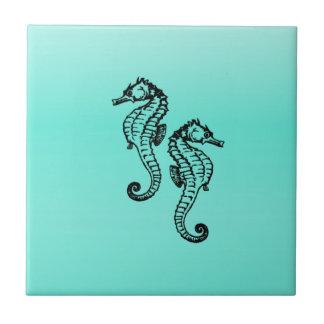 Carreau Aqua d'hippocampes