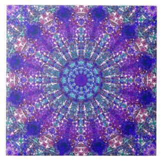 Carreau Arabesque bleu-coloré romantique d'ornement de