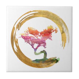 Carreau Arbre de bonsaïs. Cercle d'Enso de zen. Art