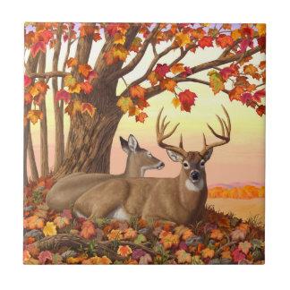 Carreau Arbre d'érable d'automne de cerf de Virginie