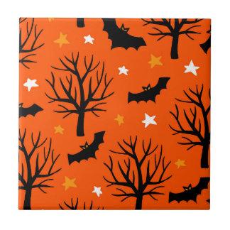 Carreau Arbre éffrayant de Halloween avec des battes et