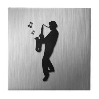 Carreau Argent de joueur de saxophone