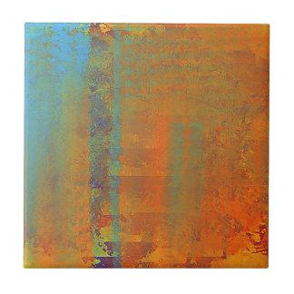Carreau Art abstrait en Aqua, cuivre, or