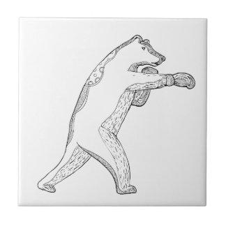 Carreau Art de boxe de griffonnage d'ours gris