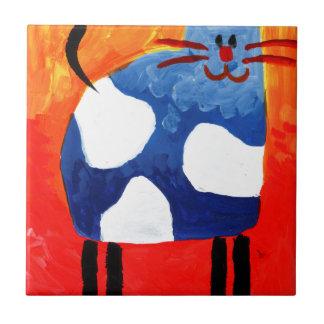 Carreau Art de peinture de dessin d'amusement de chat fait