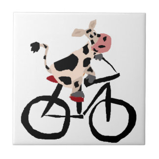 Carreau Art drôle de bicyclette d'équitation de vache