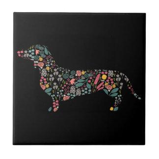 Carreau Art floral d'aquarelle de motif de chien de
