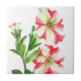Carreau Art floral de pétunias roses et blancs