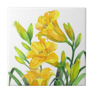 Carreau Art floral jaune d'hémérocalles d'aquarelle