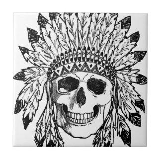 Carreau Art indigène de visage de crâne