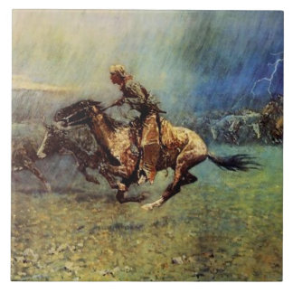 "Carreau Art occidental de Frederic Remington ""la ruée"""