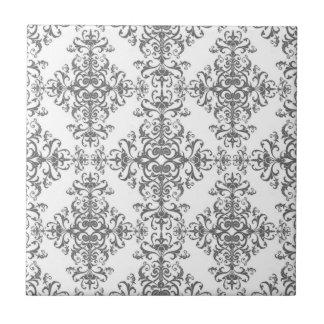 Carreau Art victorien élégant de damassé florale grise et