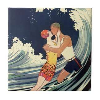 Carreau Baiser vintage d'amants d'art déco dans les vagues