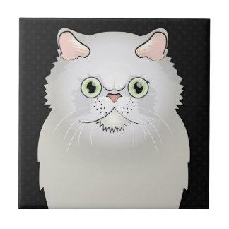 Carreau Bande dessinée de chat persan (blanc, Plat-Visage)