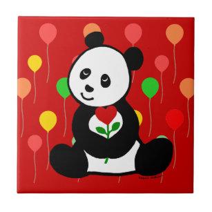 Carreau Bande Dessinée De Panda Et Une Fleur De Coeur