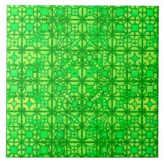 Carreau Batik tribal - nuances de vert vert